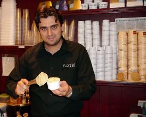 Leonardo Vestri scoops his premium gelato