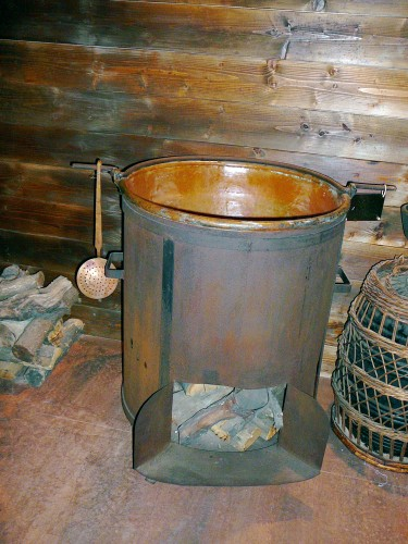Copper-lined Pot used to Cook Grape-must for Balsamic Vinegar