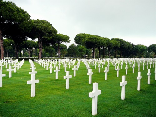 Headstones of the American soldiers who fell in battle between Sicily and Rome