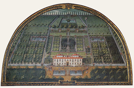 Lunette of Villa of Castello and its gardens by Giusto of Utens (1599)
