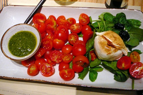 Smoke Mozzarella with tomatoes, basil and pesto