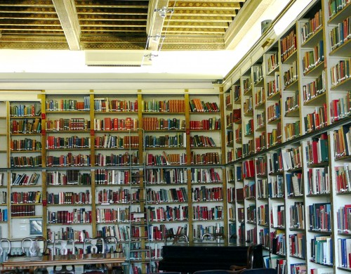 Books line the main lecture room