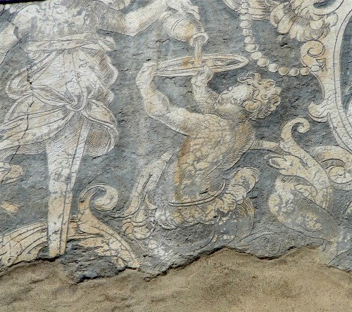 Allegorical graffiti on the faade of Palazzo Ramirez de Montalvo