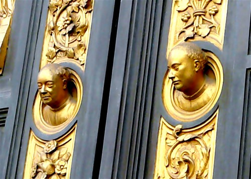 Lorenzo and Vittorio Ghiberti stare out from their Doors of Paradise