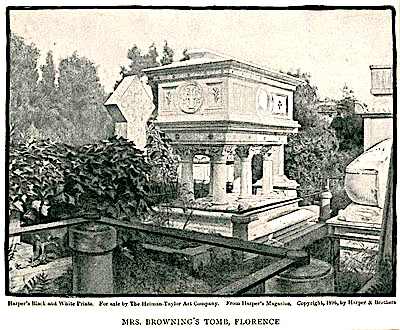 Etching of Barrett Browning's tomb from 1861 Harper's Magazine