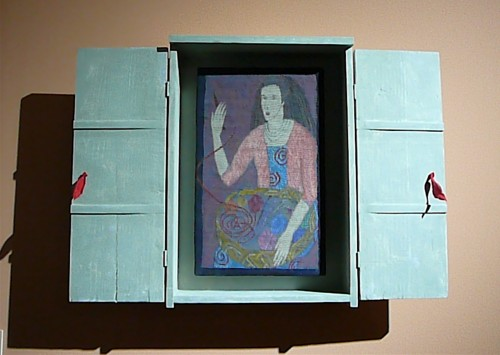 British artist Lynne Curran's tapestry portrait in a box (2010)