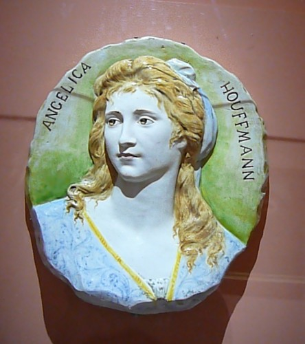 Late 19th century Florentine ceramic of painter Angelica Kauffman
