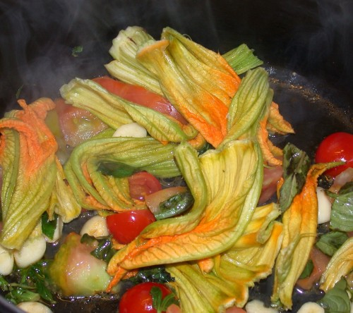 Tuscan vegetables with zucchini flowers