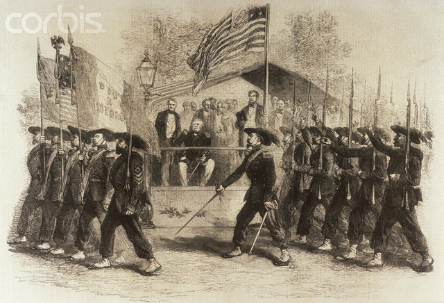 Lincoln reviews the 39th New York Volunteer Infantry Regiment- the Garibaldi Guard