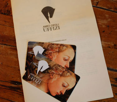 Membership cards to the Amici degli Uffizi - Friends of the Uffizi