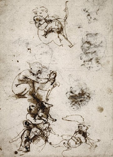Leonardo Di Vinci's sketches of a baby and a cat