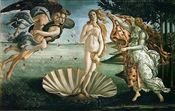 Birth of Venus found in the Uffizi Gallery