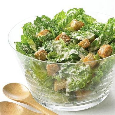 Caesar Salad with Caesar Dressing croutons and Parmesan cheese