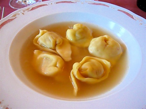 Handmade tortellini in a capon broth