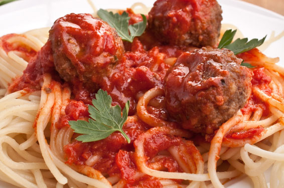 Spaghetti with meatballs is an American favorite, not an Italian tradition