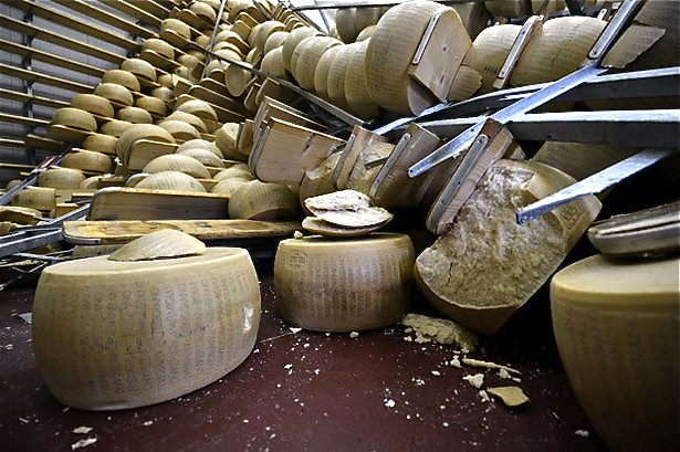 Parmesan cheese destroyed by 6.0 earthquake