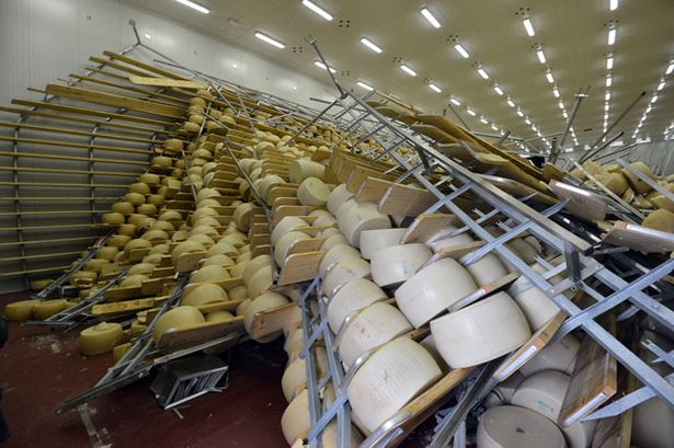 The cheese ages on high shelves for up to five years