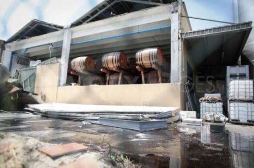 Earthquake damage at large balsamic vinegar factory