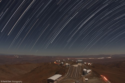 Time lapse photo from the top of the larges telescope on a moonlit night