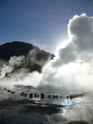 El Tatio Geyser Basin at 12,500 feet above sea level in the Atacama Desert