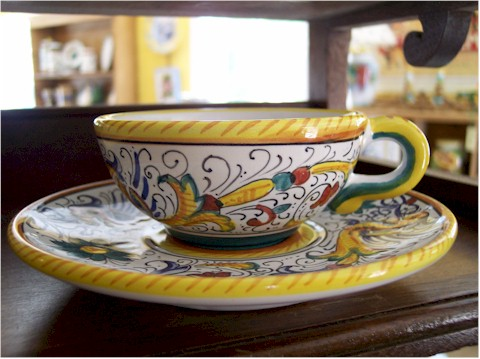 You can buy a beautiful Tuscan ceramic tea cup to take home