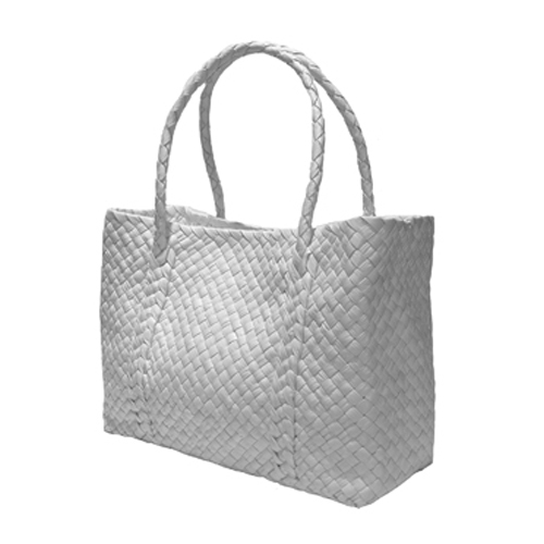 The Intrecciato Pieno Fiore Leather Basket of infinity design