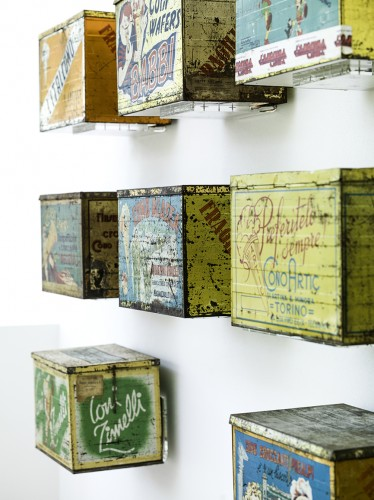 Antique tin boxes for storing gelato cones