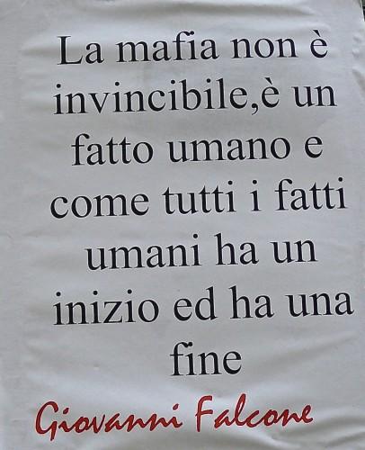 Words by anti-mafia prosecutor Govanni Falcone on Georgofili olive tree