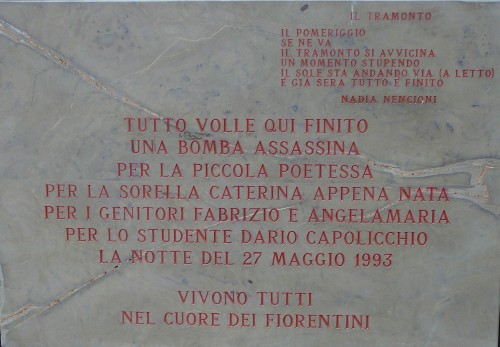 Placed in 2011 on the Accademia dei Georgofili where the victims lived