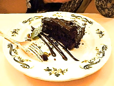 Diane's dark chocolate cake with chocolate sauce