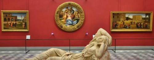 Michelangelo's Doni Tondo in it's new room at the Uffizi