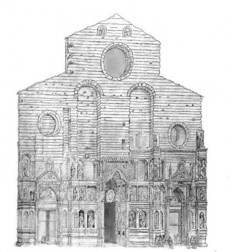 The sketch by Pocetti of Arnolfo's façade
