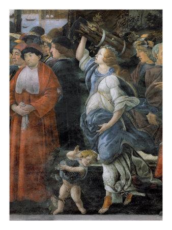 Is this Caterina Sforza in Botticelli's Sistine Chapel fresco?