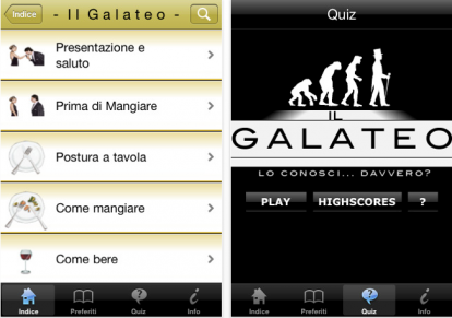The Italian iPhone app for Galateo a Tavola (Galateo at the Table)