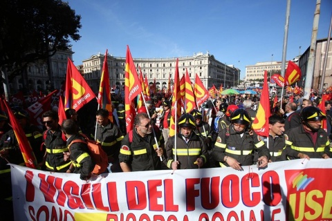 When there is a National Strike even the firefighters protest