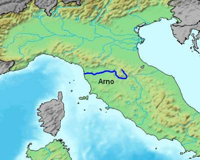 The path of the Arno River