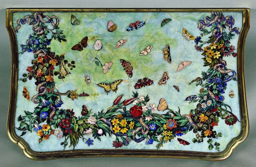 A table of butterflies in inlaid stone