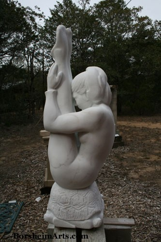 Kelly's sculpture entitled Gymnast carved of Colorado Yule marble