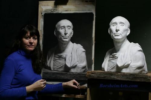 """A sketch of """"Portrait of Niccolò da Uzzano"""" by Donatello"""