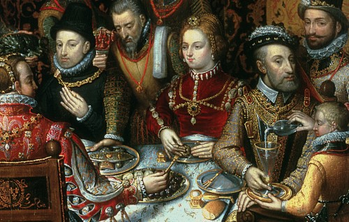 All hand above the table (The Banquet of the Monarchs by Alonso Sanchez Coello, Muzeum Narodowe, Poznan, Poland)