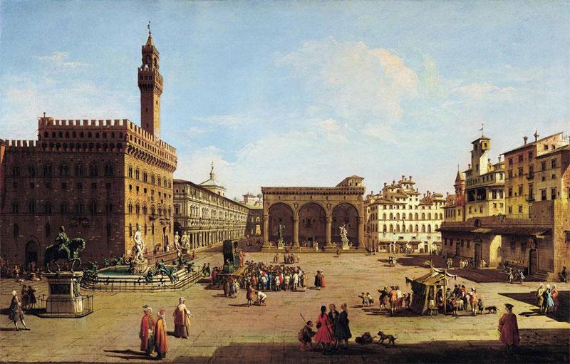 Painting of Piazza della Signoria (18th century) by Giuseppe Zocchi