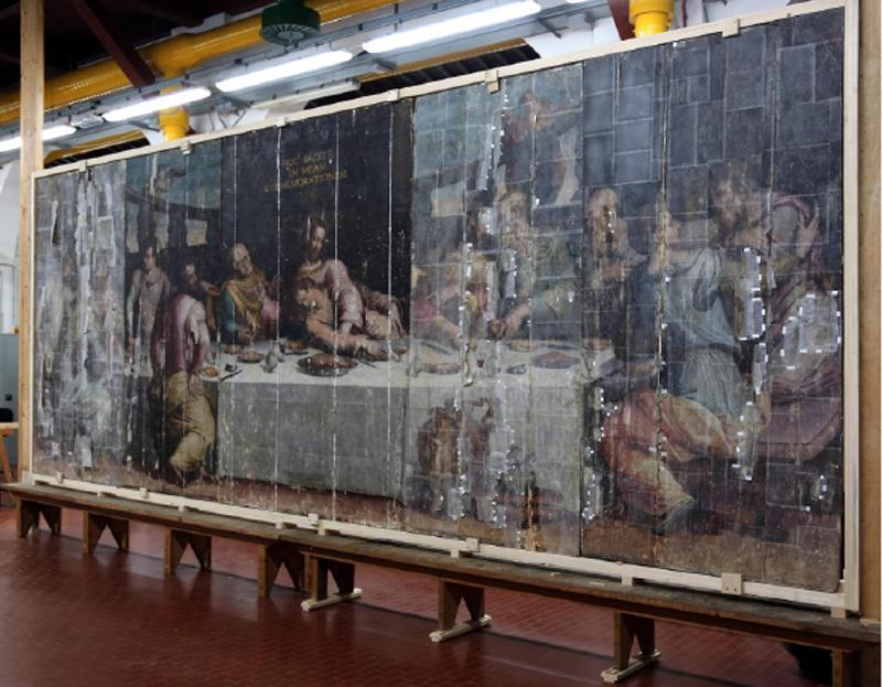 Vasari's Last Supper damaged by the flood of 1966 (photo credit: agenziaimpress.it)