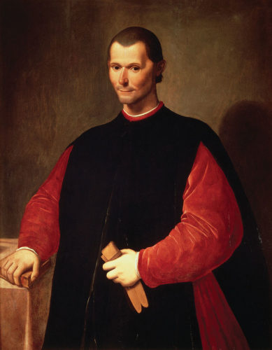 Portrait of Machiavelli in his office in the Palazzo Vecchio